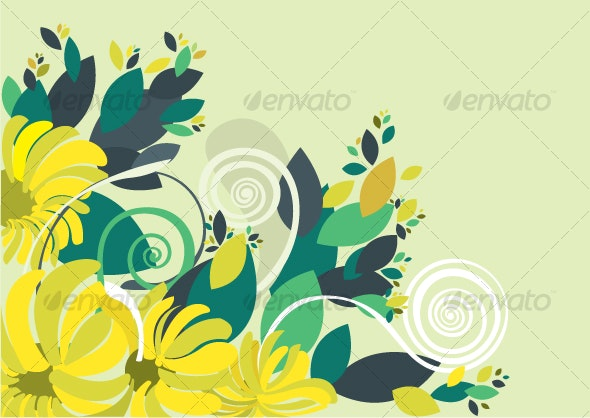 Floral background in vibrant yellow and green - Decorative Vectors