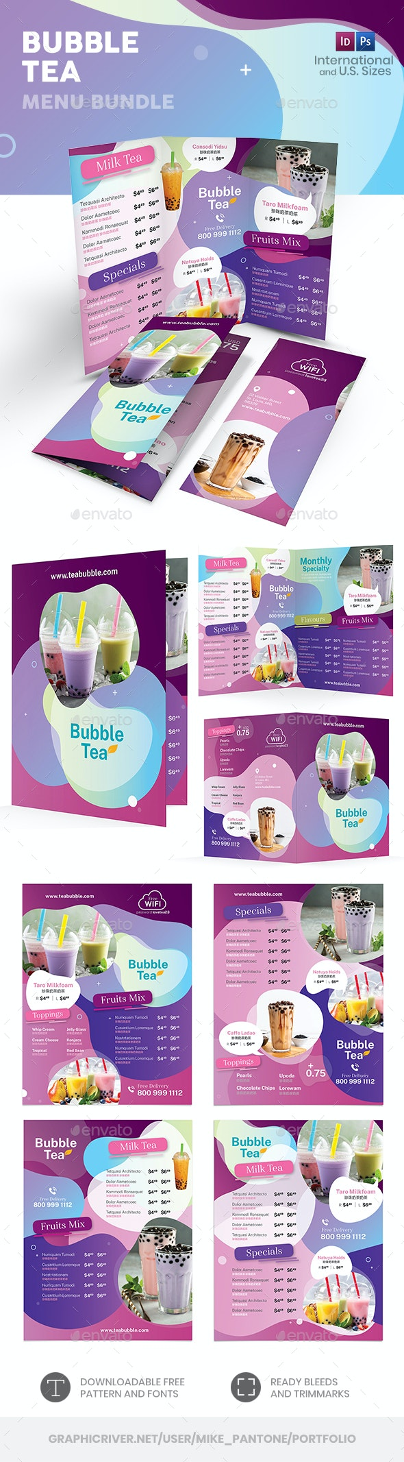 Bubble Tea Menu Print Bundle 3 - Food Menus Print Templates