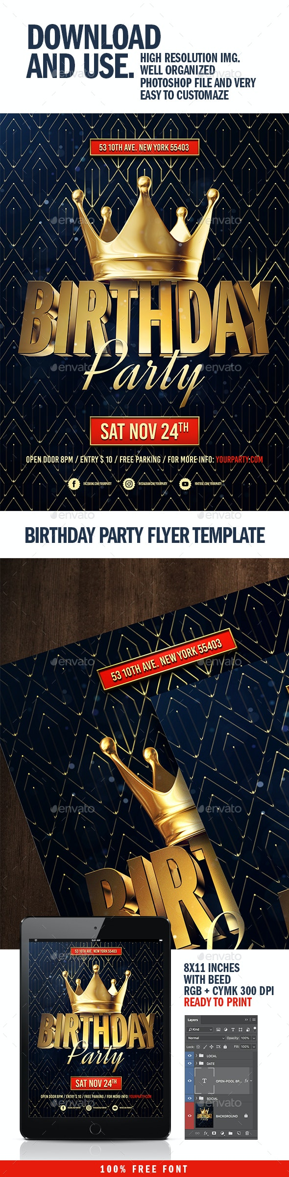 Birthday Party Flyer Template - Flyers Print Templates