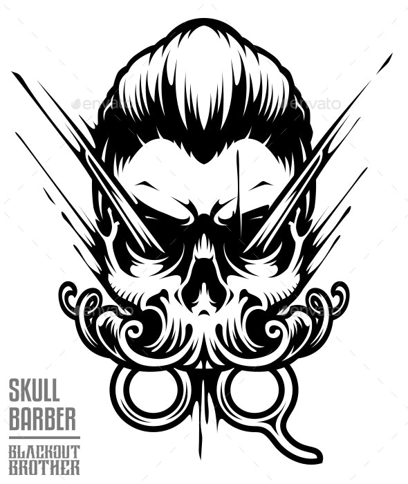 Skull Barber Vector Art - People Characters