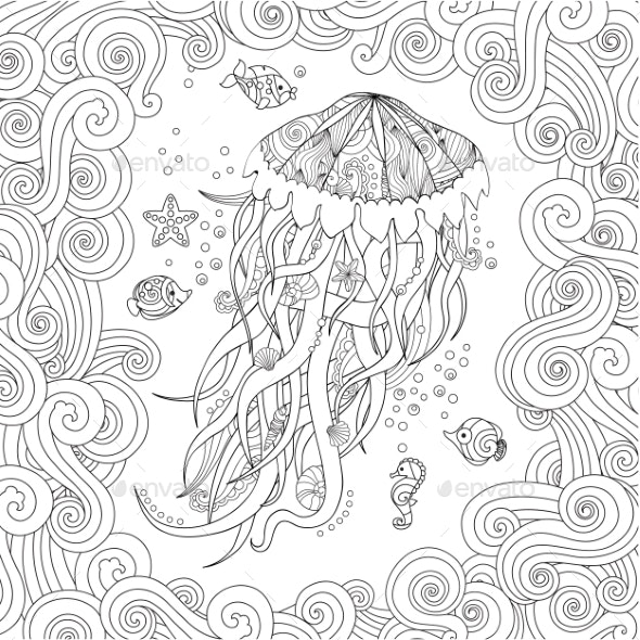Jellyfish in Zentangle Inspired Style on White - Animals Characters