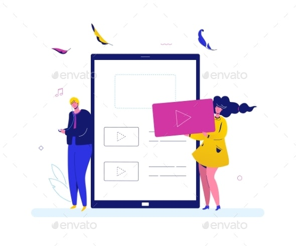 Listening To Music - Flat Design Style Colorful - Media Technology