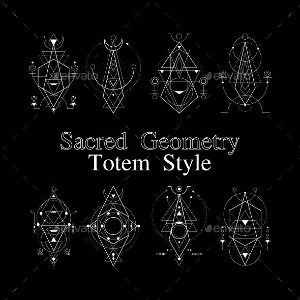 Sacred Geometry Totem Style - Abstract Conceptual