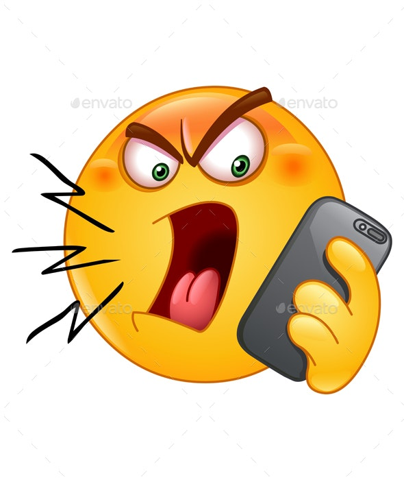 Shouting on Phone Emoticon - People Characters