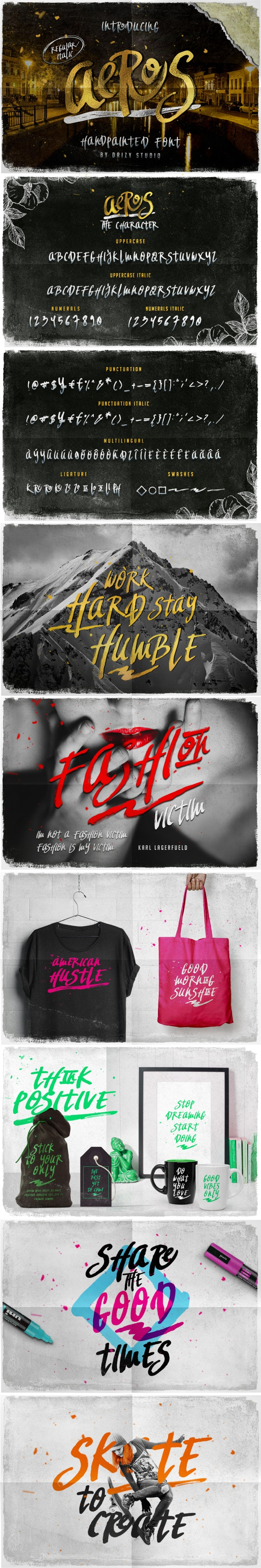 Aeros Handpainted Typeface - Fonts
