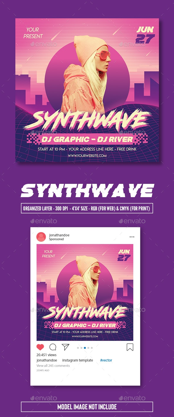 Synthwave Party Flyer Template - Clubs & Parties Events