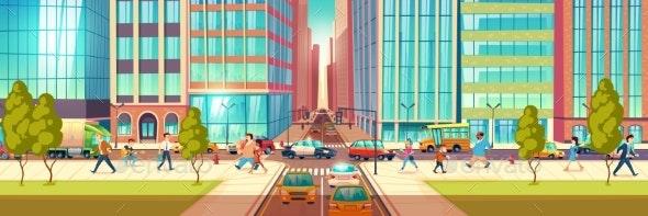 Metropolis Busy Street Cartoon Vector Concept - Miscellaneous Vectors