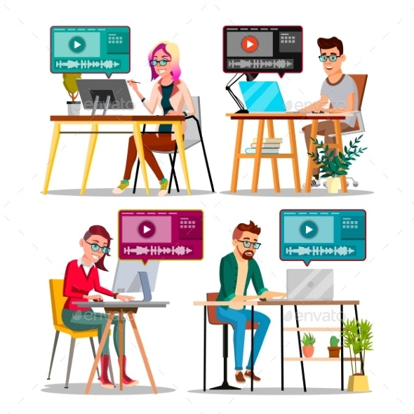 Professional Character Editor Working Set Vector - Computers Technology