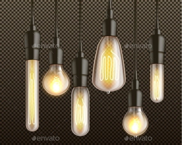 Incandescent Light Bulbs Realistic Vector Set - Man-made Objects Objects