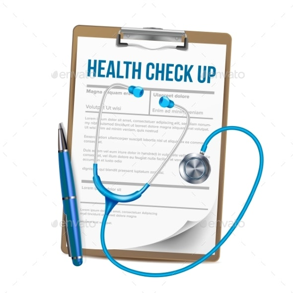 Clipboard With List Of Health Check Up Vector - Health/Medicine Conceptual
