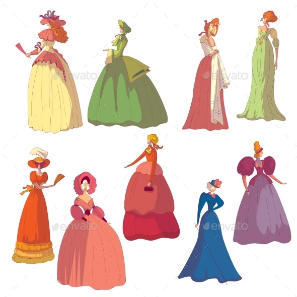 Set of Images of Women in Vintage Dresses - People Characters