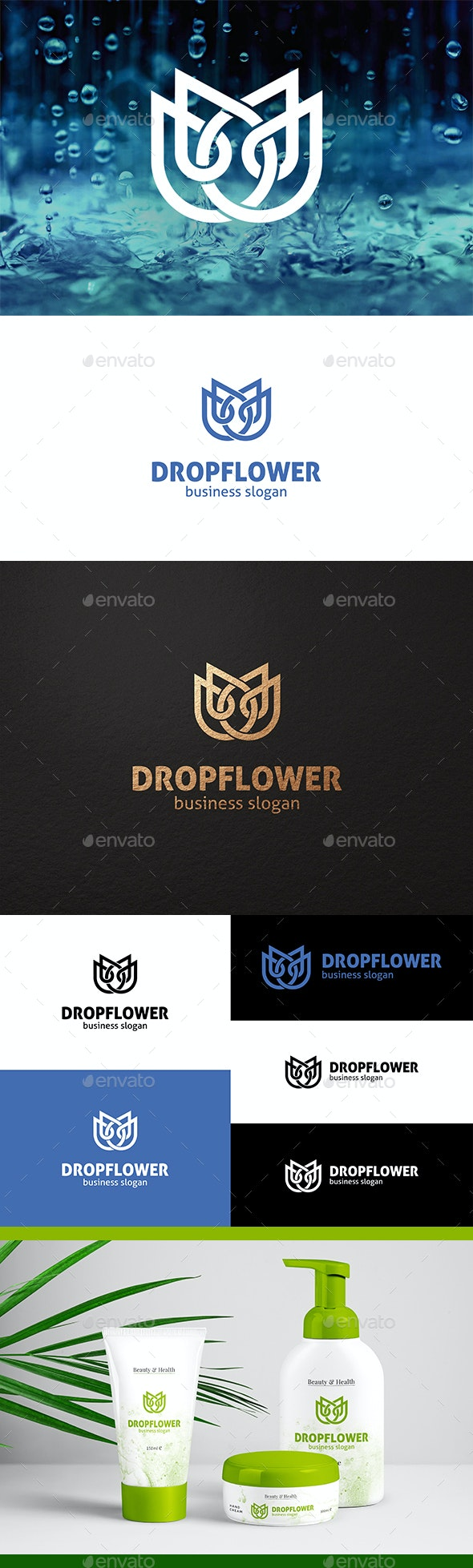 Two Water Drops and Tulip Flower Logo Concept - Nature Logo Templates