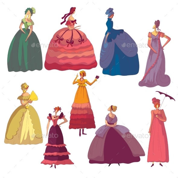 Set of Images of Women in Old-fashioned Dresses - People Characters