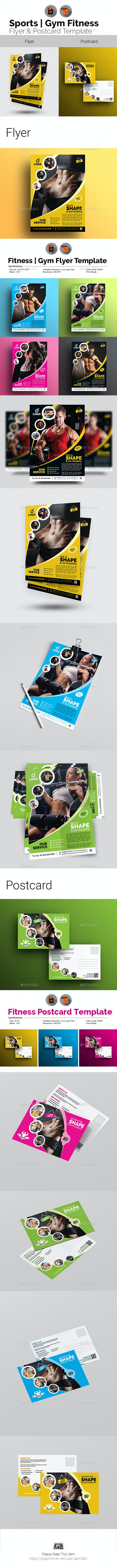 Fitness Flyer with Postcard Bundle - Sports Events