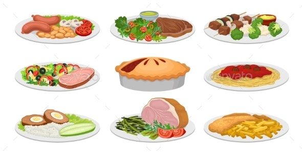 Set of Images of Ready Meals - Food Objects