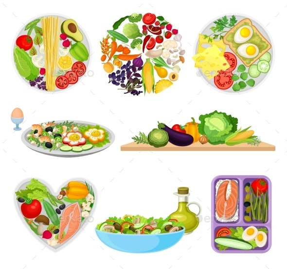 Set of Images of Plates with Different Foods - Food Objects