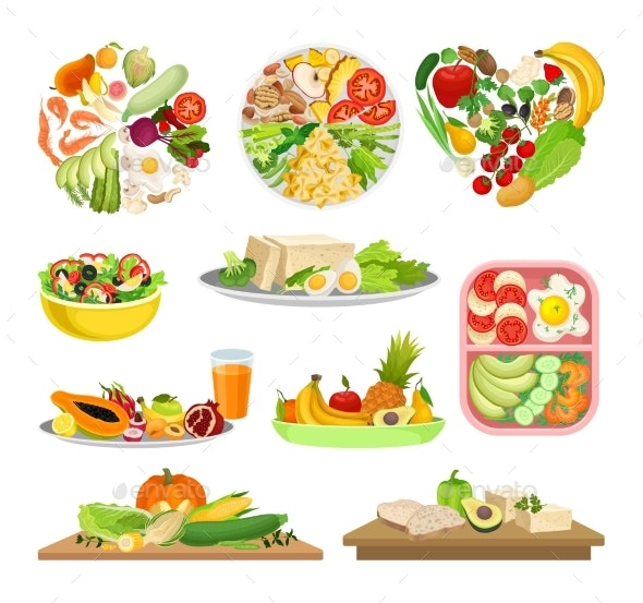 Set of Images of a Variety of Foods - Food Objects