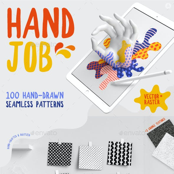 100 Hand-drawn seamless patterns collection
