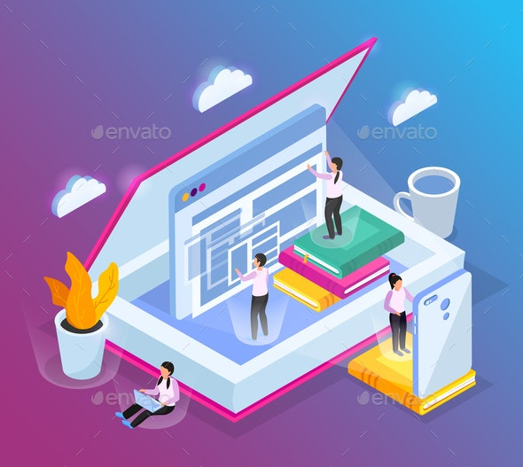 Isometric Cloud Library Background - Computers Technology