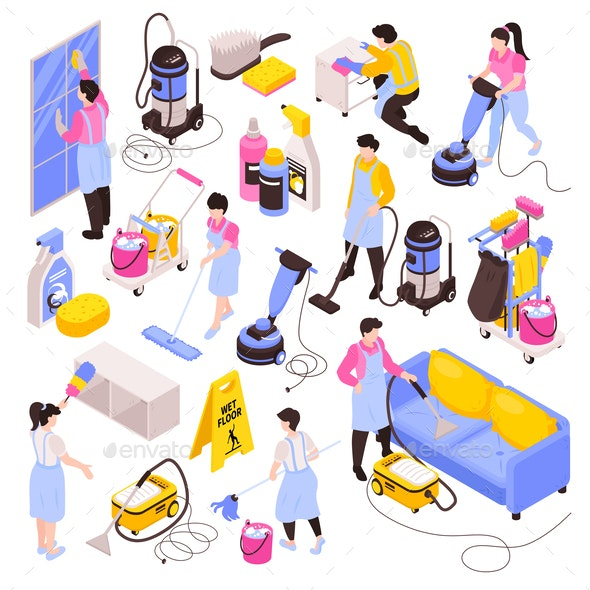 Isometric Cleaning Icon Set - People Characters