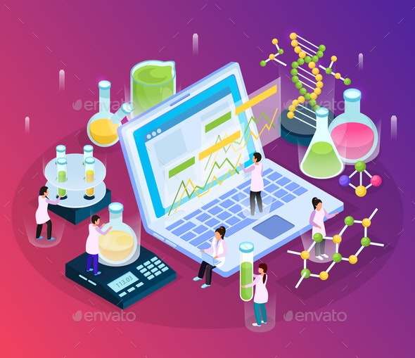 Isometric Research Glow Composition - Miscellaneous Vectors