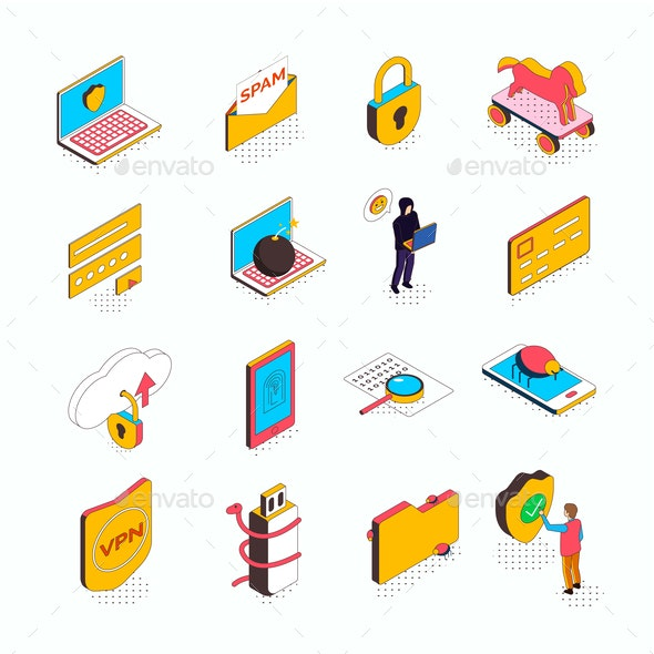 Cyber Security Isometric Icons - Computers Technology