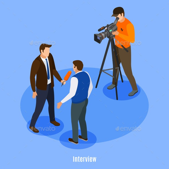 Interview Isometric Background - Miscellaneous Vectors