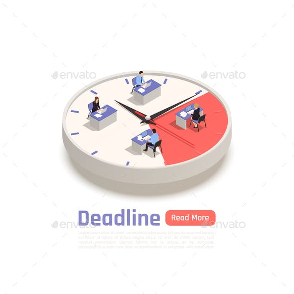 Deadline Isometric Business Concept