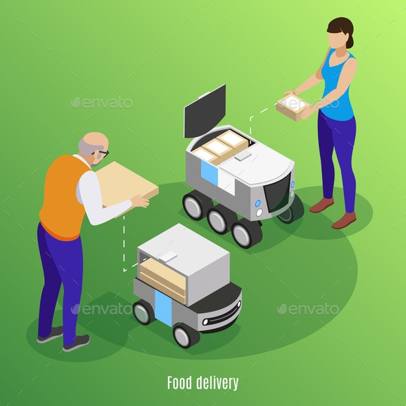 Food Delivery Isometric Background - Food Objects