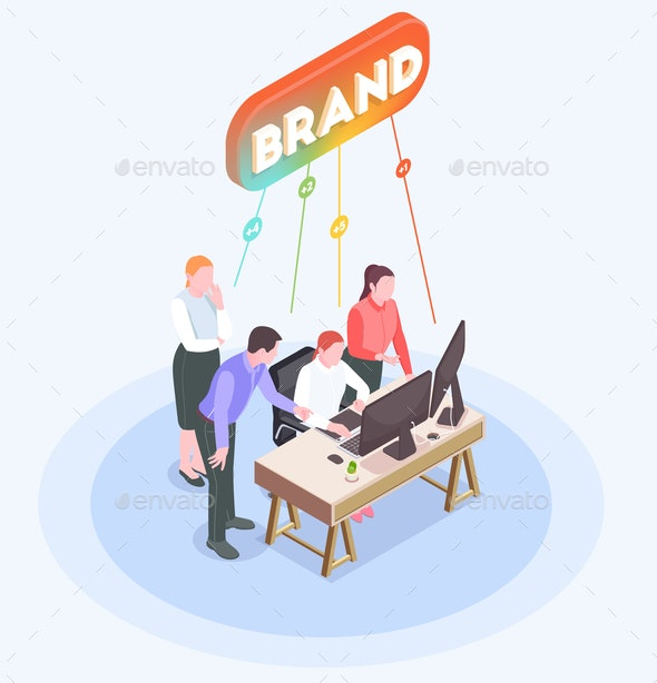 Advertising Agency Isometric Composition - Concepts Business