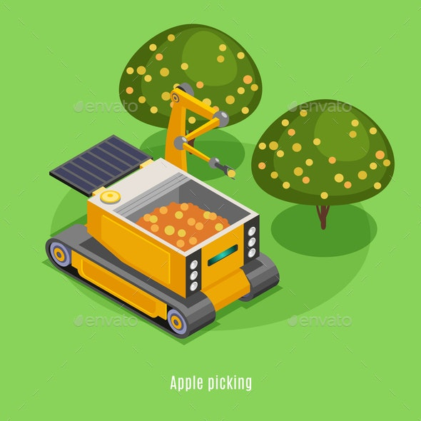 Agricultural Robots Isometric Background - Miscellaneous Vectors