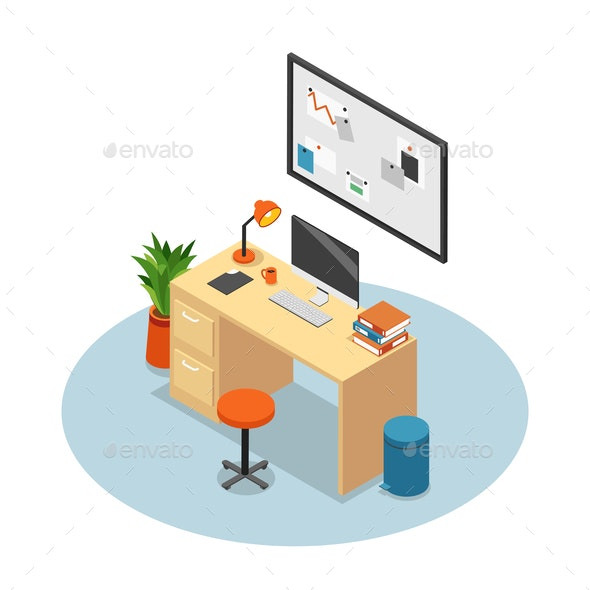 Isolated Isometric Office Composition - Miscellaneous Vectors