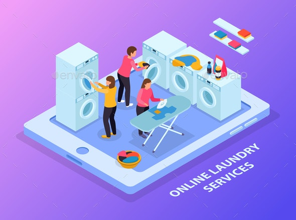 Laundry Service Isometric Background - Miscellaneous Vectors