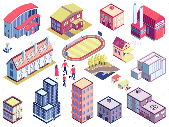 Isometric Urban Architecture Set - Buildings Objects