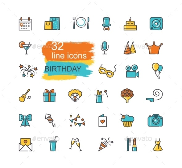 Linear Birthday Icons Set - Birthdays Seasons/Holidays