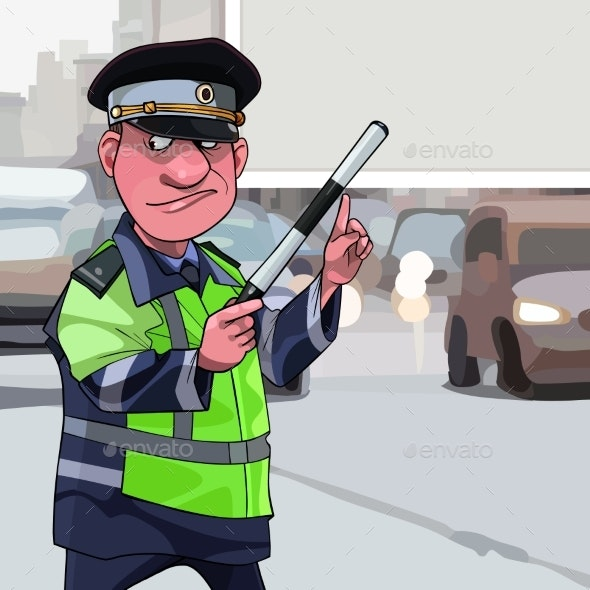 Cartoon Male Traffic Inspector Points Finger - People Characters
