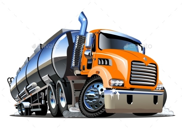 Cartoon Semi Tanker Truck Isolated on White - Man-made Objects Objects