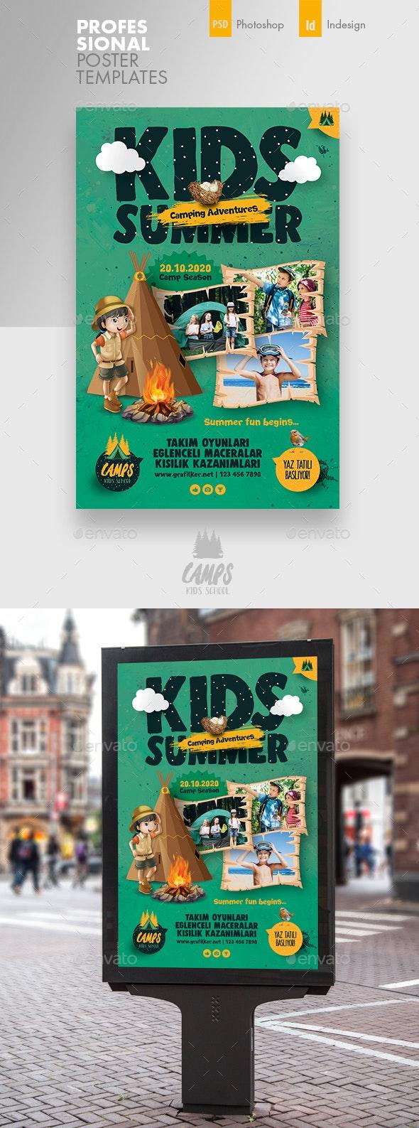 Kids Summer Camp Poster Templates - Signage Print Templates