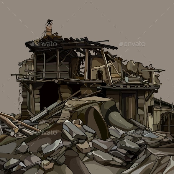 Cartoon Ruins of a Wooden House in Stones - Buildings Objects