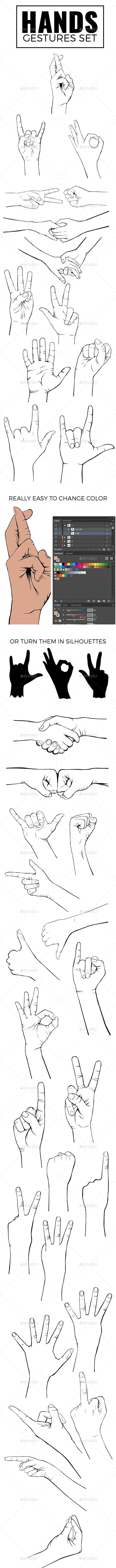 Realistic Hands Gesture Set and Silhouettes - People Characters