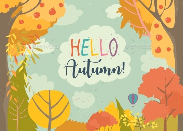 Cartoon Frame with Autumn Forest - Seasons Nature