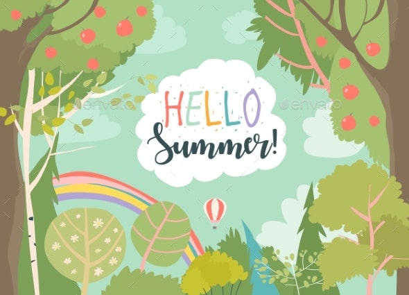 Cartoon Frame with Summer Forest and Rainbow - Seasons Nature