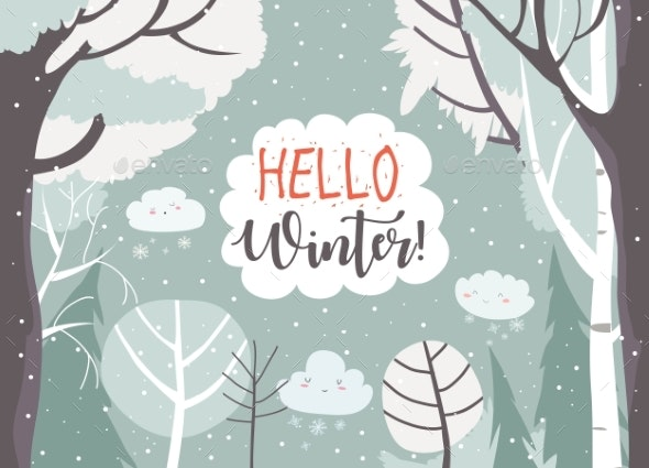 Cartoon Frame with Winter Forest Hello Winter - Seasons Nature
