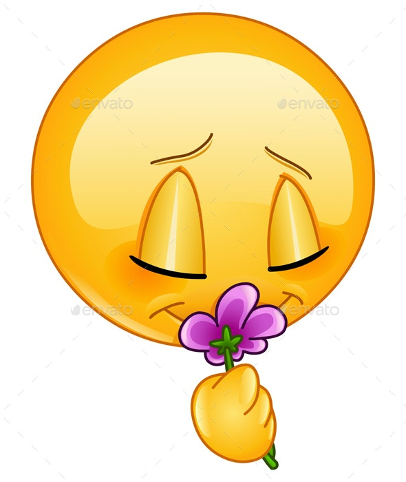 Smelling Flower Emoticon - People Characters