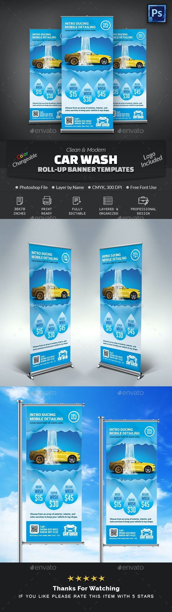 Car Wash Roll Up Banner - Signage Print Templates