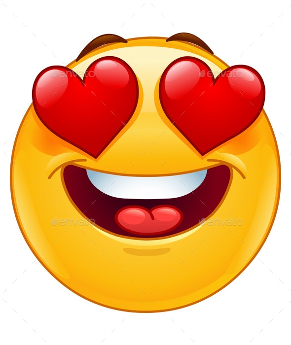 Smiling Emoticon Face with Heart Eyes - People Characters