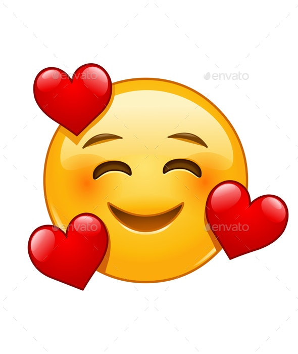 Smiling Emoticon with 3 Hearts - People Characters