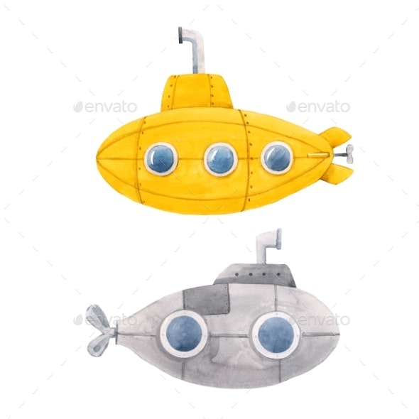 Watercolor Submarine Illustration - Miscellaneous Illustrations
