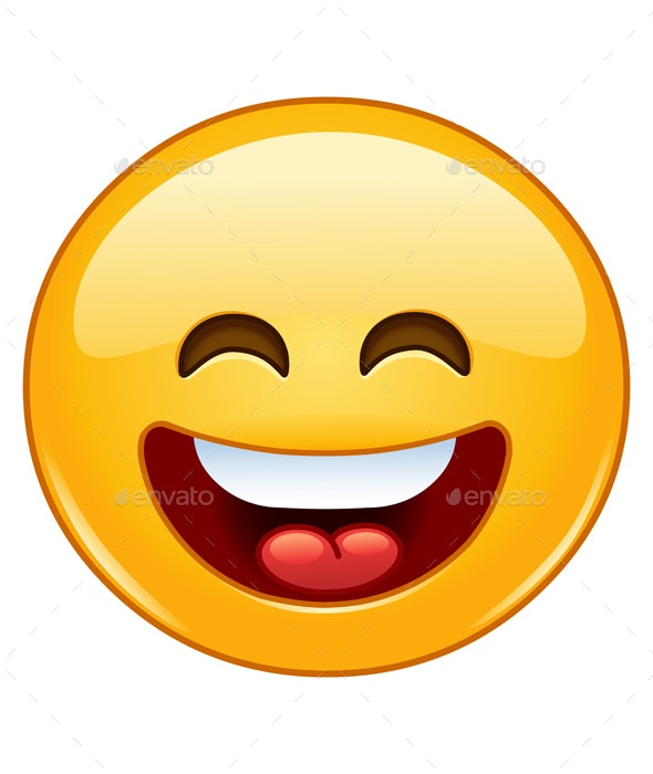 Smiling Emoticon with Open Mouth and Smiling Eyes - People Characters