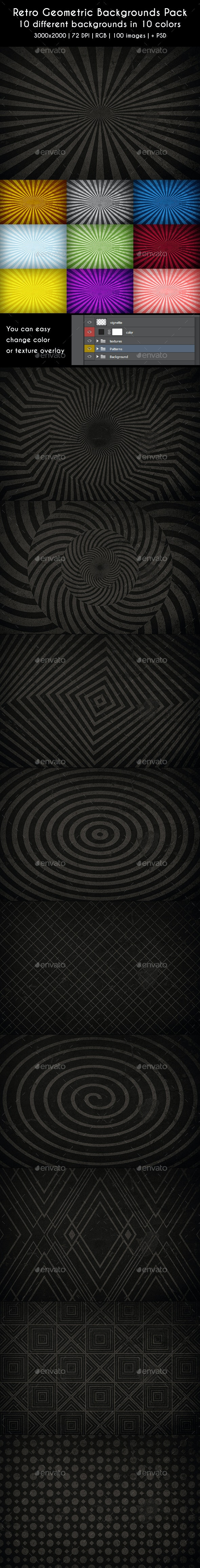 Retro Geometric Backgrounds Pack PSD - Miscellaneous Backgrounds